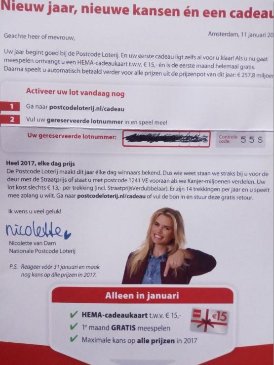 Brief Aan Nicolette Van De Postcodeloterij Wizzkaz